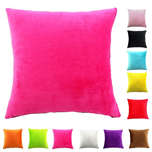 Easondea Kissenbezüge Sofa Home Car Dekoration Solide Luxus mit Reißverschluss Kissenbezug Pink 60X60CM