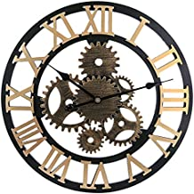 MRKE 58CM XXXL Grande Reloj Pared Vintage Silencioso Madera 3D Roma Retro Gear Design Reloje de
