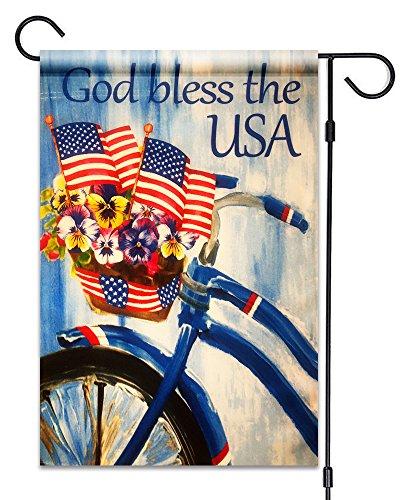 51Gruppen God Bless The USA Garten Flagge 30,5x 45,7cm American Flaggen mit Bike und Fahne Deko Blumen Patriotische 100% Alle Wetter Polyester Kleine Größe Banner