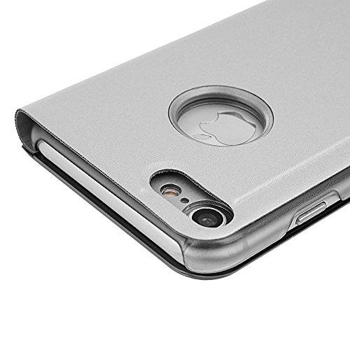 """iPhone 7 4.7"""" Hülle Badalink Blau Überzug Spiegel Handyhülle Case Cover Flip Case Schutzhülle Ständer Handytasche mit Eingabestifte Silber"""