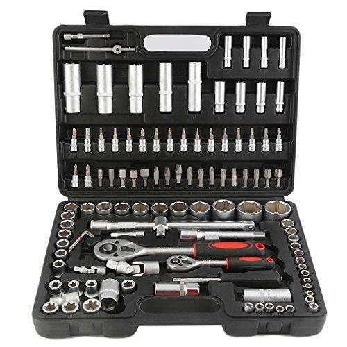 108 PCS/Set Socket Set Cliquets Boîte à Outils Coffret Clé à Cliquet et Embouts Douille
