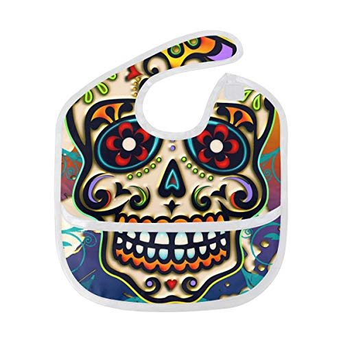 ican Halloween Sugar Skull, Waterproof Cotton Unisex Boys Girls Toddler Bibs Bandanas Velcro ()