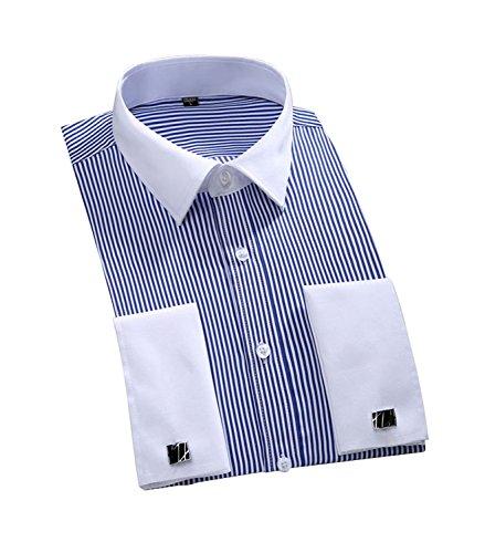 Cloud Style -  Camicia classiche  - A righe - Classico  - Maniche lunghe  - Uomo Blue