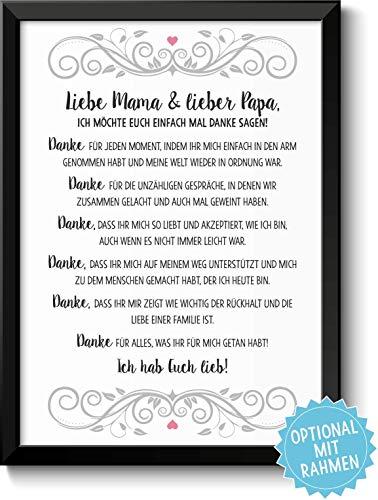 Danksagung Mama und Papa Bild optional mit Holz-Rahmen und Namen personalisiert Geschenk Geschenkidee Danke sagen Dankeschön Eltern