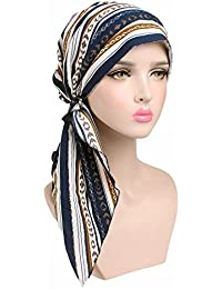 Mujer Alltags algodón de paños, morechioce Mujer turbante sombrero Mujeres pañuelo Kopfbedeckung niña suave cinta para Make-up Pérdida de pelo