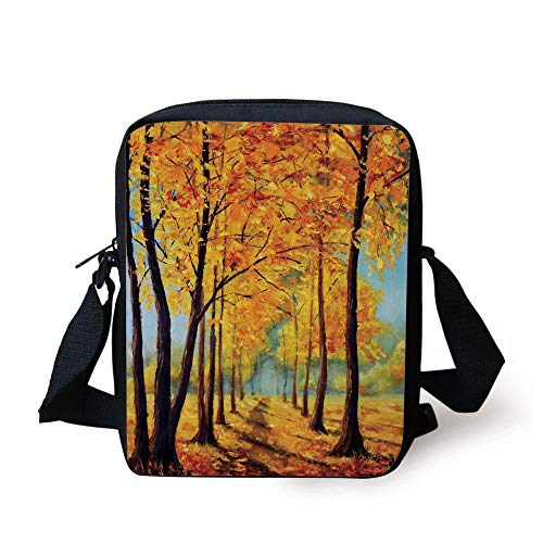 Country Decor,Painting of a Park in Autumn Fall with Pale Golden Leaves Harmony Nature Art Print,Yellow Brown Print Kids Crossbody Messenger Bag Purse (Coach Tablet-fall)