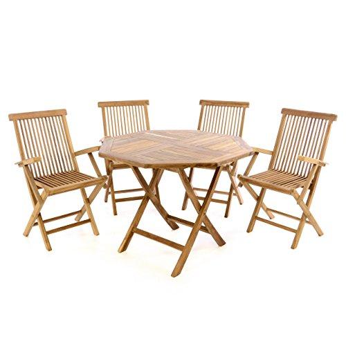 Divero GL05608 3 TLG. Balkonset Klappstuhl Tisch rund Ø 60cm Teakholz Garten-Set Sitzgarnitur,...
