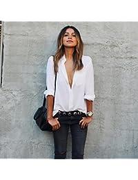 Camisa Blanca, Oyedens Blusa De Las Mujeres Camisa De Manga Larga Floja Grande De Tamaño De Bolsillo Camisas Con Cuello En V Tops