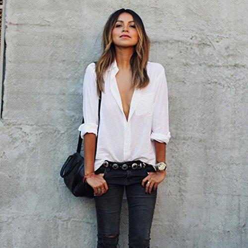Camisa Blanca, Oyedens Blusa De Las Mujeres Camisa De Manga Larga Floja Grande De Tamaño De Bolsillo Camisas Con Cuello En V Tops (M)