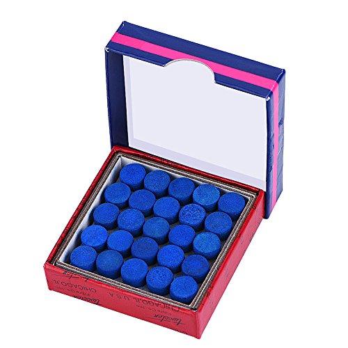 Alomejor 50 Stück/Set Billard Queue Spitzen Leder Anschrauben Pool Billard Ersatz Tipps mit Aufbewahrungsbox für Pool Queues und Snooker Blau 9mm 13mm 10mm Wählbar(13mm)
