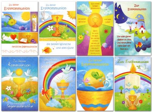 50 Glückwunschkarten zur Kommunion Sonne Taube Motive Grußkarten 12-2210