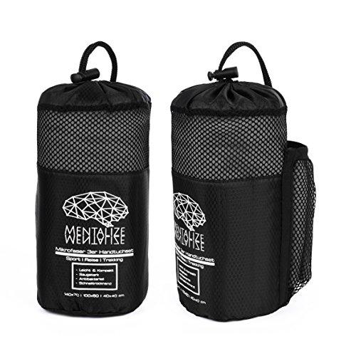 Mentalize® Premium 3er Set Mikrofaser Handtücher [ 140x70cm ; 100x50cm und 40x40cm] | Schnelltrocknend, ultraleicht und antibakteriell mit nahtverdeckter Reißverschluss-Tasche & praktischer Tragetasche | Ideal für Reisen und Sport (Zementgrau - Black)