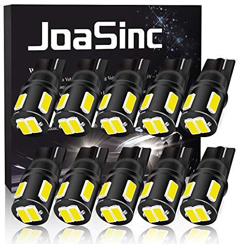 JoaSinc W5W 501 lampadina LED T10 194 168 lampadine bianche 6-SMD 5630 per luci di posizione auto, luci interne, cruscotto, targa, bagagliaio, DC 12 V, confezione da 10