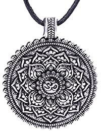 LemAmazon Halskette mit Mandala-Anhänger, Indien, Buddhismus, Blumensymbol, Retro-Vintage-Schmuck