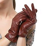 Nappaglo Damen klassische Lederhandschuhe Touchscreen Italienisches Lammfell Winter Warm Reines Kaschmir-Futter Handschuhe (S (Umfang der Handfläche:16.5-17.8cm), Winerot(Non-Touchscreen))