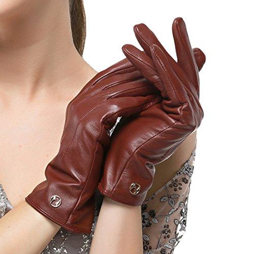 Nappaglo Damen klassische Lederhandschuhe Touchscreen Italienisches Lammfell Winter Warm Reines Kaschmir-Futter Handschuhe (XL (Umfang der Handfläche:20.3-21.6cm), Winerot(Non-Touchscreen)) Xl Lange Handschuhe