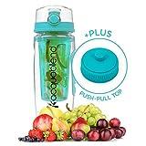 Acquablend, bottiglia di acqua con infusore per frutta maxi da 900ml Jumbo con tappo a scatto Crea il tuo infuso di acqua aromatizzata alla frutta, il tuo succo, il tuo tè o la tua bevanda gassata., Aqua
