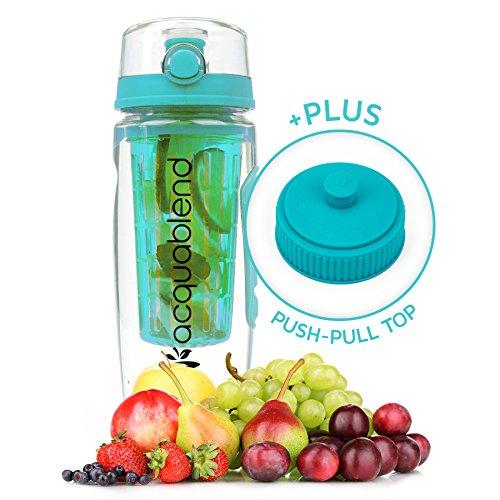 Acquablend Jumbo Wasserflasche mit Fruchteinsatz / Fruchtbehälter und Zieh-und-Drück-Deckel, 900ml Fassungsvermögen Zur Herstellung von Wasser, Saft, Eistee und kohlensäurehaltigen Getränken mit natürlichem Fruchtgeschmack., aqua (Gurken Auge Liebe Gurken)