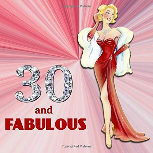 30 and Fabulous: Retro Blonde Bombshell Design 30th Birthday Guest Book for Women - Red & Diamond Sign In Book - Vintage Style Thirtieth Bday Party ... Name and Address - Square Size  8.25 x 8.25 (30th Bday Dekorationen)