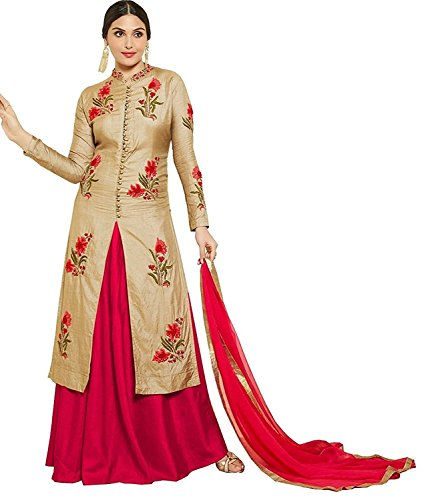 AnK Women's Chiku Cotton Embroidered semi stitched salwar suit with two bottom...