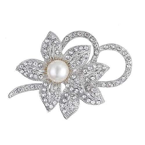 CAOLATOR Brosche Blume Vintage Damen Strass Brooch Pin Elegant Perlen Legierung Anstecknadel für Kleidung Mantel Anzug Pullover AHochwertig Kleiden Dekoration Ornament - Silber -