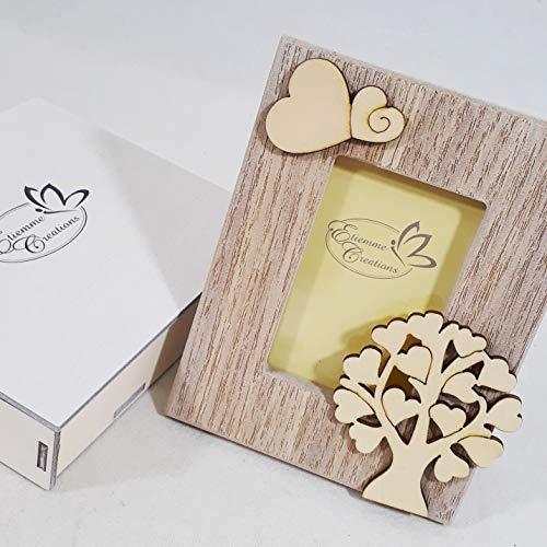 Bomboniera battesimo comunione cresima nascita cornice portafoto in legno della vita farfalla (bomboniera con scatolo no confezione)