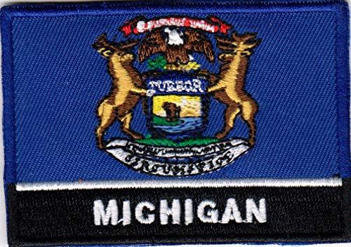 USA State Vereinigten Staaten Eisen auf Flagge-Patch Multicolor Aufnäher Michigan MI - Multi-color Patch