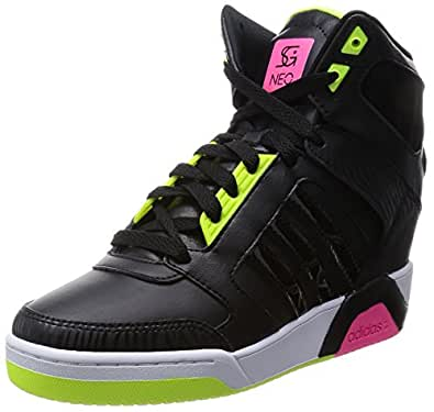 adidas neo Women's Bb9Tis Wedge Sg Core Black, Core Black and Solar Pink Sneakers - 7 UK