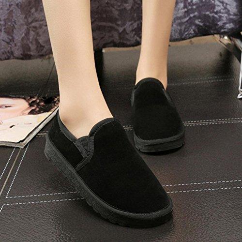 Transer® Unisex Warm Weich Mokassins Casual Schuh Kunstleder+Plastik (Bitte achten Sie auf die Größentabelle. Bitte eine Nummer größer bestellen. Vielen Dank!) Schwarz