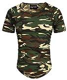 A. Salvarini Herren Designer T-Shirt Kurzarm Oversize Sommer Shirts Basic V-Ausschnitt V-Neck Rundhals (Gr. L, Rundhals - Camouflage)