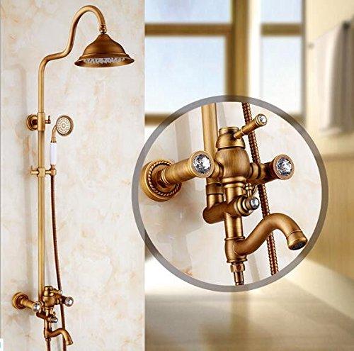 ANNTYE Waschtischarmatur Bad Mischbatterie Badarmatur Waschbecken Messing antik Duschen Regendusche Set Retro Badezimmer Waschtischmischer