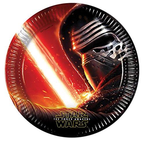 procos-86210-piatti-carta-star-wars-the-force-awakens-oe23-cm-8-pezzi-nero-rosso