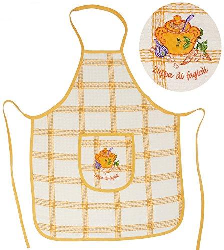 """Schürze - """" Zuppa di fagioli """" - mit großer Tasche & aufwendiger Stickerei - für Erwachsene & Jugendliche - 100 % Baumwolle - Kochschürze & Grillschürze - Küchenschürze - Damen / Herren - Männer & Frauen Damenschürze - Backschürze - Bastelschürze - Italien / italienisch - mediterran"""