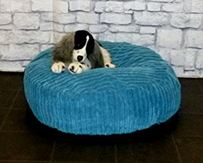 "Zippy Round Bean Bag Pet Dog Bed - 30"" diameter - Blue Jumbo Cord Fabric - Beanbags"