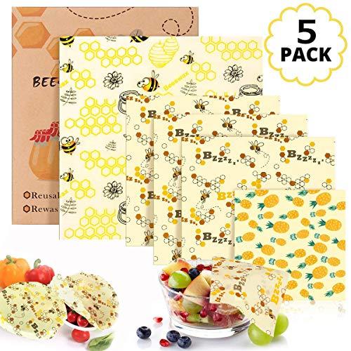 Bienenwachstücher für Lebensmittel, 5 Stück 100% natürliche Wiederverwendbare Frischhaltefolie für Obst, Gemüse und Brot - Aus natürlichem Bienenwachs(1XS,3xM,1xL)