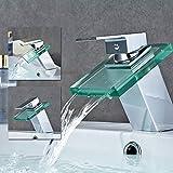 Auralum Miscelatore lavabo in vetro lavandino monocomando per bacino ,a cascata per rubinetto acqua fredda e calda rubinetto bagno