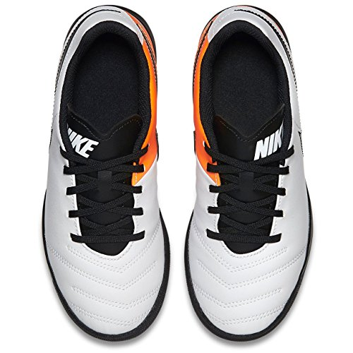 Nike Tiempox Rio Iii Tf, Scarpe da calcio Unisex Bambini Bianco (Blanco (White / Black-Total Orange))