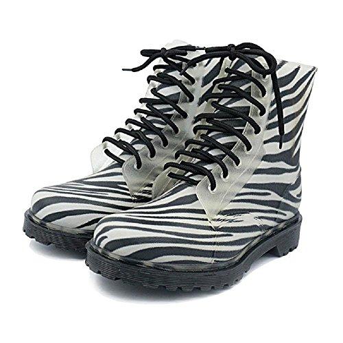 Testa rotonda Antiscivolo Martin Stivali da pioggia Moda Pizzo Scarpe da trekking zebra stripes