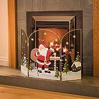 3 Panel Fireguard Fireplace Screen Santa Claus Father Christmas 49cm