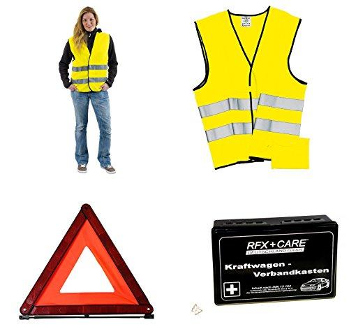 KFZ Sicherheitsset 4er Set 2 x Warnweste Warndreieck und Verbandskasten