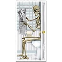 tuopuda Halloween Pegatinas Puertas Esqueleto Pegatinas de Puerta para el Baño Halloween Decoracion Terror 76 * 130 CM (Esqueleto)