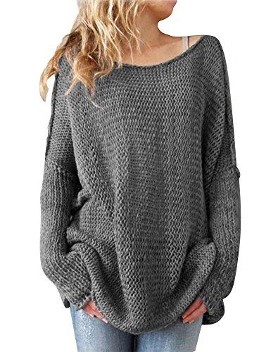 Minetom donna maglione casual elegante sexy maliga manica lunga ufficio girocollo tops maglietta grigio it 42