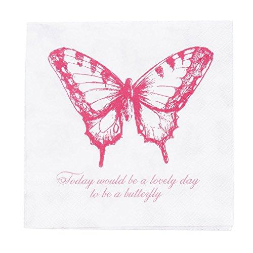 Papierservietten Papier Servietten Schmetterling rosa (20) 33 x 33 cm (Dinner Servietten Rosa)