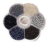 Basteln - Perlen Mix - Schwarz/Silbern-Mix - incl. Nylon Schnur u. Verschluss - ca. 120gr - (1x1Set)