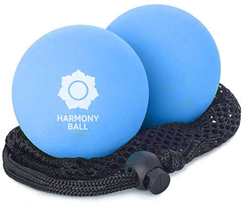 Massageball 2er Set aus Naturkautschuk inkl. Netz - 2 x Massagebälle je 7,2 cm, angenehm nachgiebig, perfekt für Faszien- und Selbstmassage