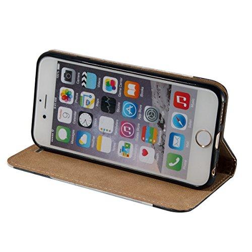 Etsue Handytasche für iPhone 6S/iPhone 6 4.7 Zoll Brieftasche Hülle,iPhone 6S/iPhone 6 4.7 Zoll Lederhülle Handyhülle Flip Hülle Leder Bookstyle Hülle Vintage Flip Wallet Ledertasche Schutz Hülle Scha Blau Feder