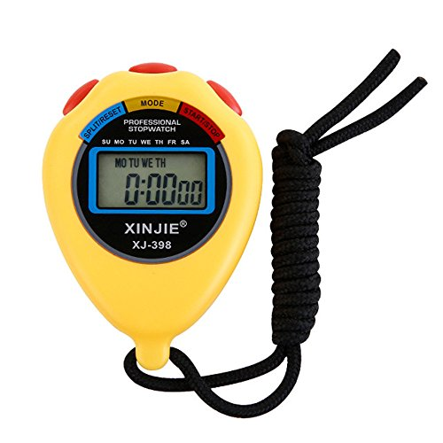 Stoppuhr,JKLEUTRW-Fitness und Mehr Digitaler Chronograph-Timer-Zähler Sport LCD-Display für Fußball, Basketball, Laufen, Schwimmen (Gelb, one) (Schwimmer Fitness-tracker)