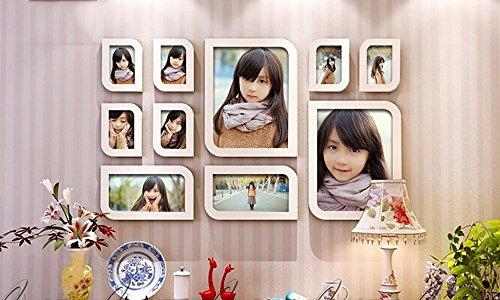 10 Multi-Frame-Foto Wand Massivholz geschnitzte Gestelle Fotowand Wand Fotorahmen Wand einfach modern europäischen Handarbeit ( Shape : Square )