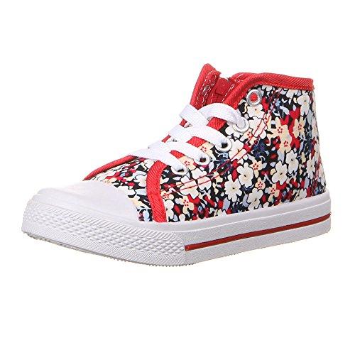 Kinderschuhe Freizeitschuhe Blumen Print Sneakers Schwarz Pink Blau Rot 18 19 20 21 22 23 Rot