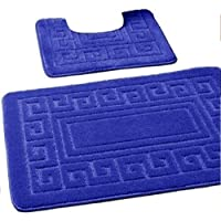 New 2 Piece Bath Mat New Greek Style Set Non-Slip 13 Colours by 247 TRADERS (Royal Blue)